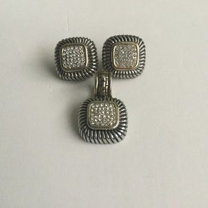 Jewelry - Silver and rhinestone earrings and pendant
